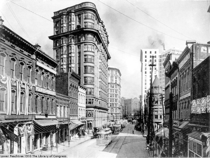 Lower Peachtree Street, Atlanta, in 1910, 56 years after ex-President Millard Fillmore visited. Library of Congress photo via Chamblee54